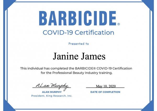 covid-19 certification from barbicide